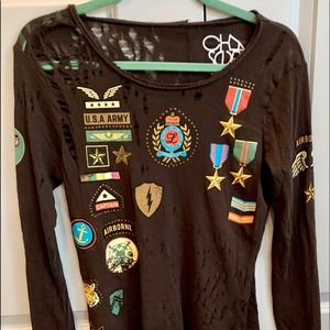 Distressed military long sleeve